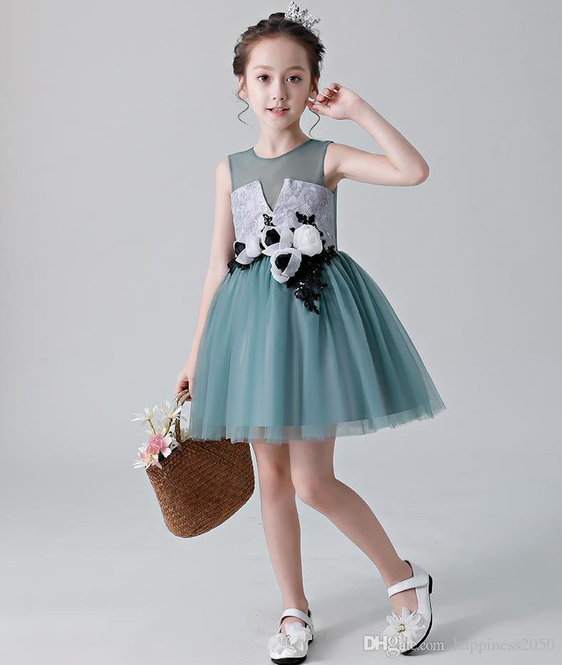 Pretty Teal Green Tulle Joya Hasta la rodilla Vestidos para niñas Vestidos de flores Vestidos de fiesta de princesa Faldas para niños por encargo 2-14 H314351