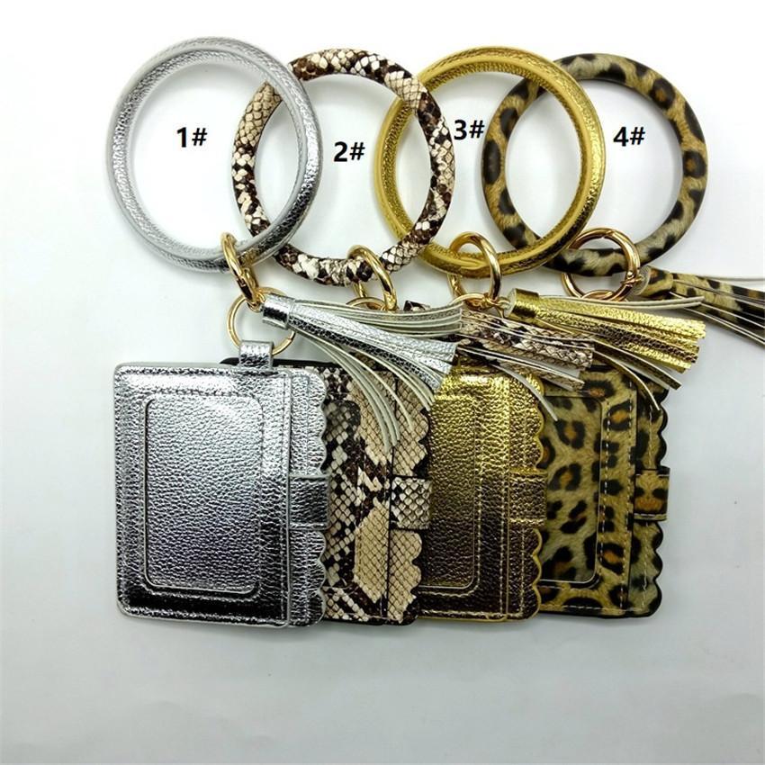 Circle Carte Bracelet Porte-bracelet Porte-bracelet Porte-bracelet E21805 Bagues de sacs à glands léopard avec monnaie Porte-clés pour femme Porte-clés Beat FDODP