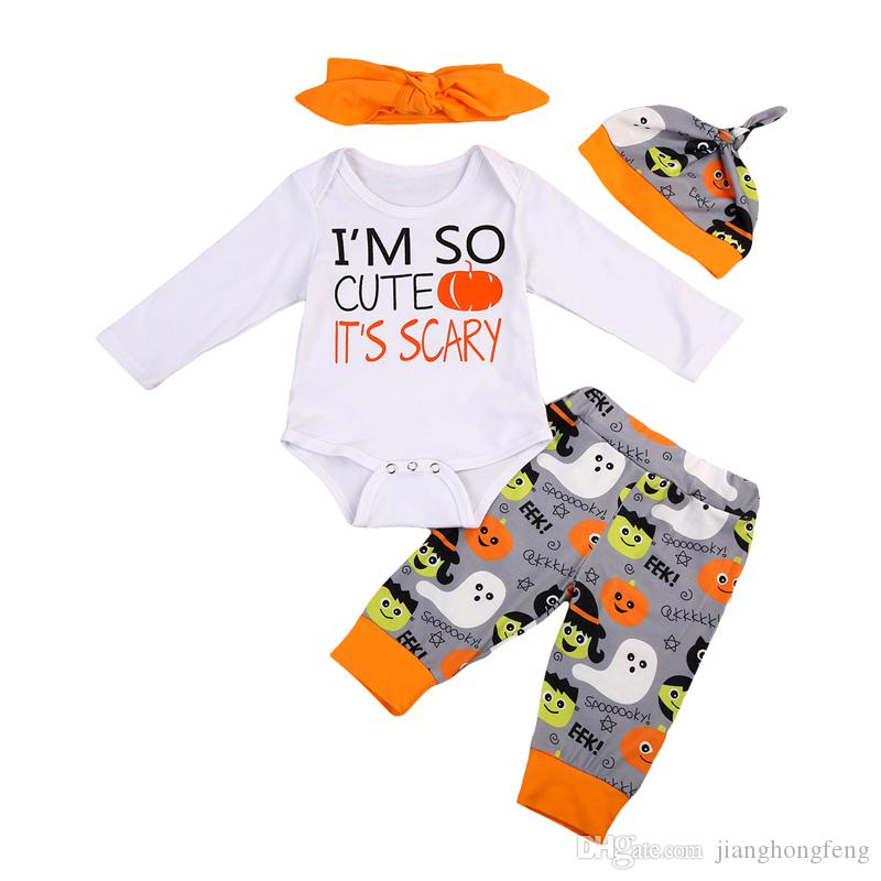 Imcute New Fashion 4PCS Newborn Baby Boys Girls Clothes Bodysuits Tops Jumpsuit Pants Headband Hat Casual Outfit Set Clothing