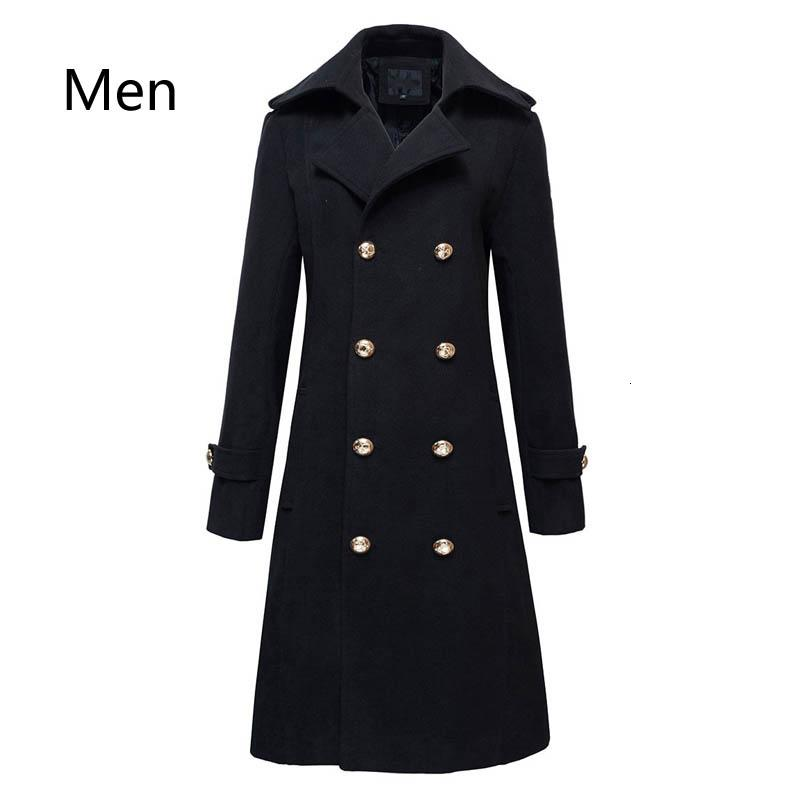 Winter Mens Military Double Breasted Wool Blend Long Jackets For Man Female Cotton Padded Warm Long Coats Male Windbreakers Y191119