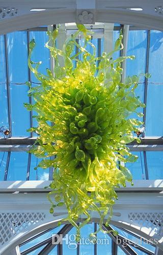 Гостиница большая французская винтажная Зеленая стеклянная люстра ручной работы выдувное зеленое стекло Италия спроектировала люстру для домашнего декора отеля