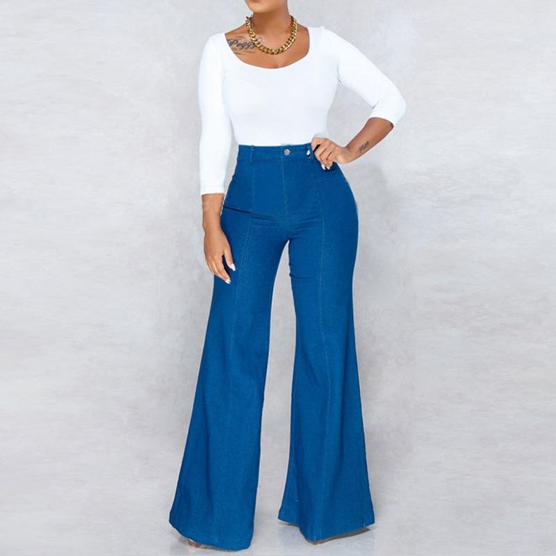 Женские джинсы 2021 повседневные самостоятельные и гибкие бедра, поднятие талии Super длинные брюки синие женщины