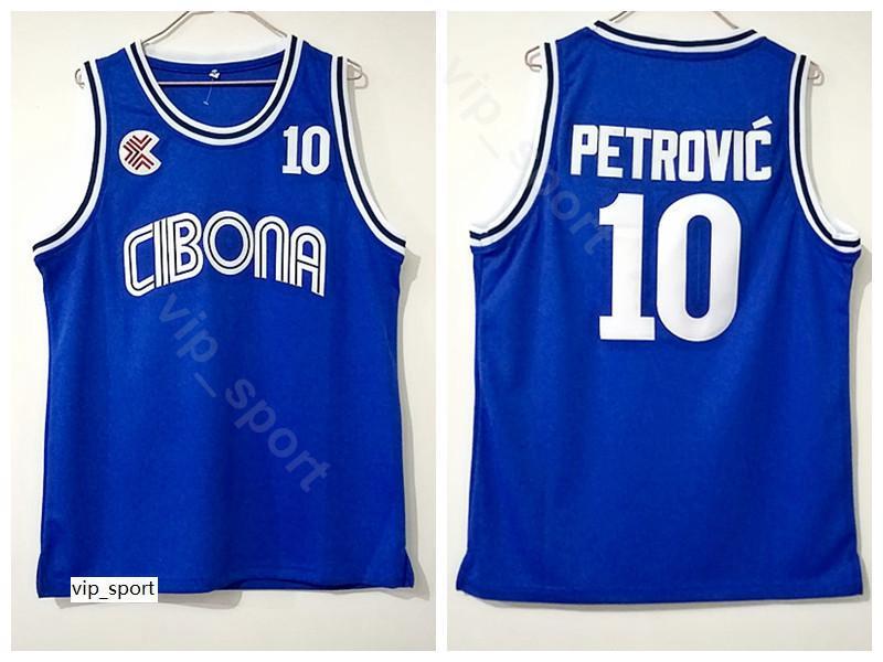 Cibona Zagreb College Drazen Jersey Petrovic 10 Homens Cor Azul Universidade Petrovic Basquete Jersey Uniforme Respirável Boa Qualidade