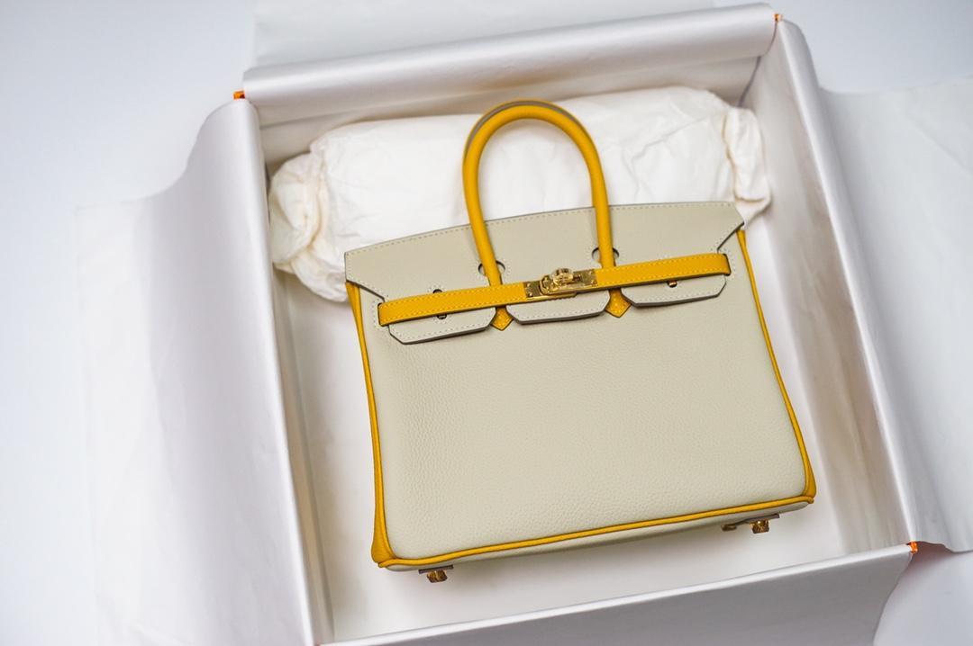 migliore qualità originale spaccatura giallo bianco 25 centimetri togo Brikin hanbag, fatto a mano, filo di cera, molti colori con dimensioni diverse sul sito web o instagram