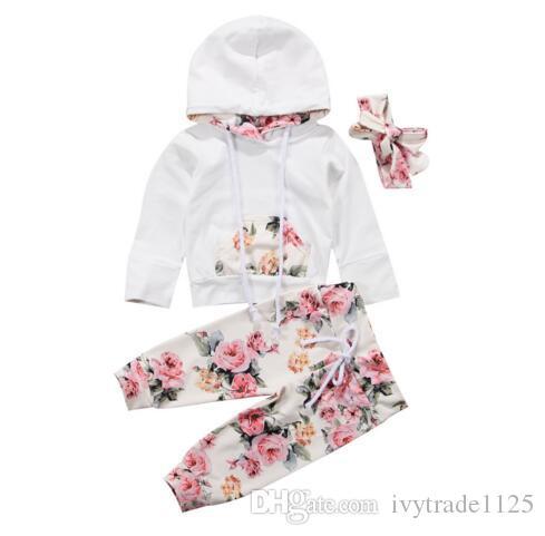bambino Set di abbigliamento per bambini Ragazza ragazza Fiori Felpe con cappuccio casual per bambini Set Felpe con cappuccio manica lunga + pantalone + fascia