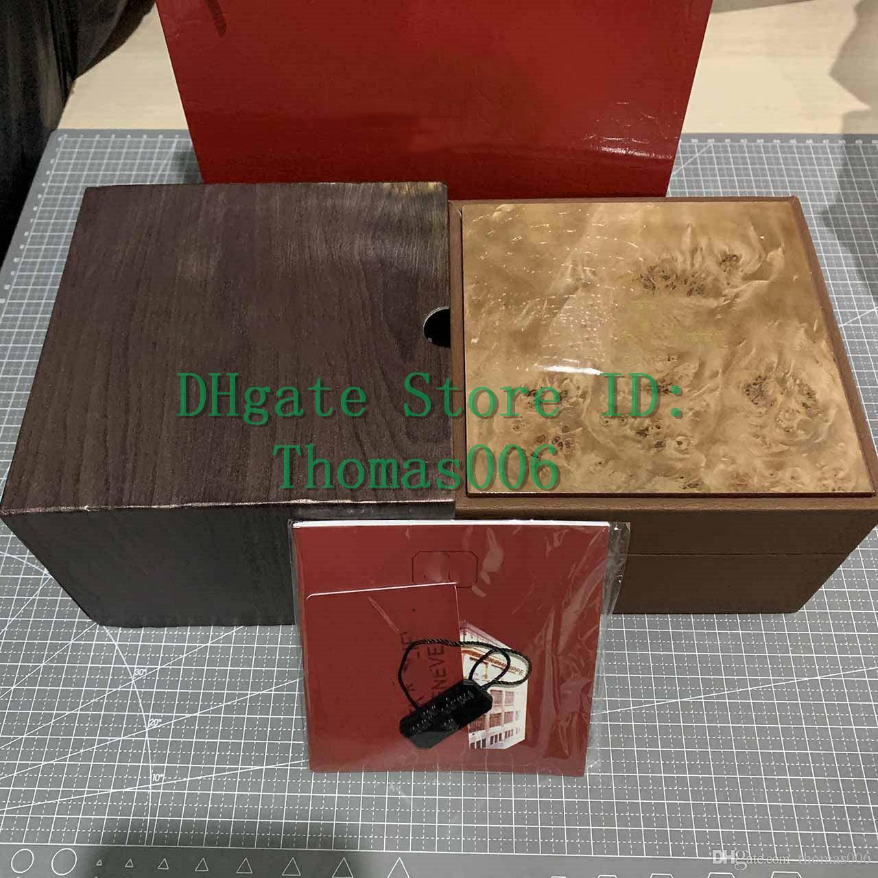 Atacado Nova inspeção marrom Box New Square caixa marrom Por PP Relógios Box Whit Cartão Booklet tags e artigos em inglês caixas de presente