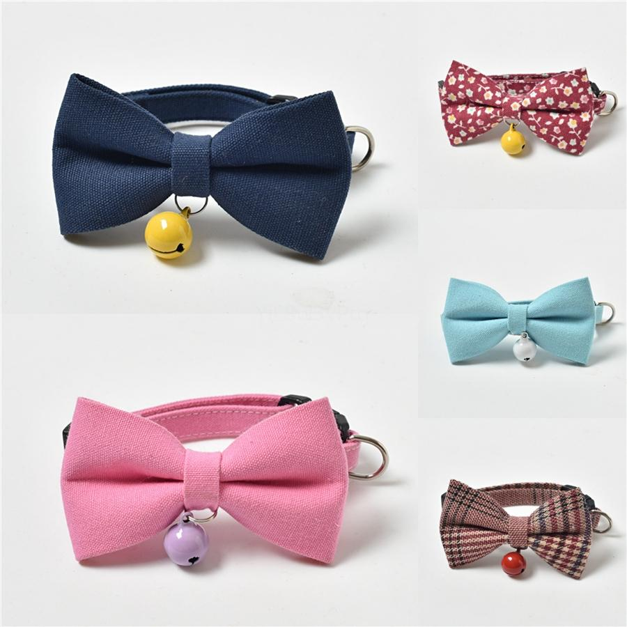 Adjustable Pet Cat Dog Collars Soft Comfortable Bow-Knot Cat Bell Bowknot Collar Houndstooth Bowknot Collar For Cats Puppy Bow Ties Pet S #24