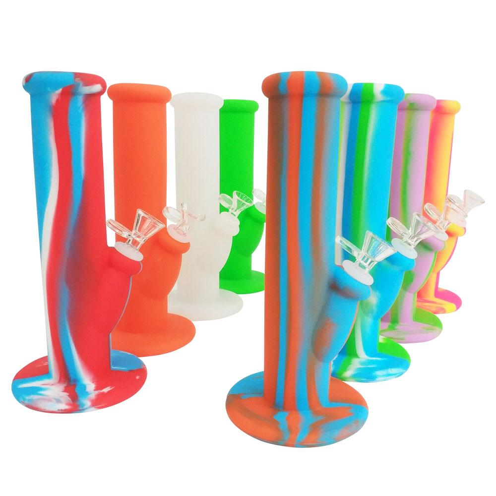Best Silicone Glass Dab Bongs With Flower Bowl 10 Inch Unbreakable Foldable Smoking Wax Dabs Oil Dry Herb Tobacco Straight Tube Water Pipe