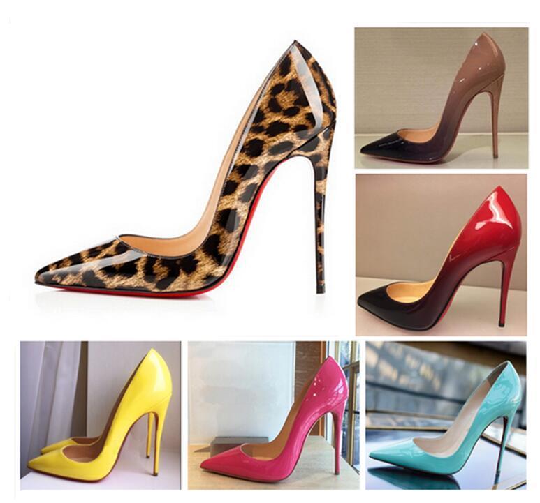 2020 الكعوب أزياء ذات جودة عالية الطباعة الكلاسيكية أحمر أسفل الكعب القيعان ليوبارد طباعة الزفاف اللباس مضخات النسائية الأحذية النسائية