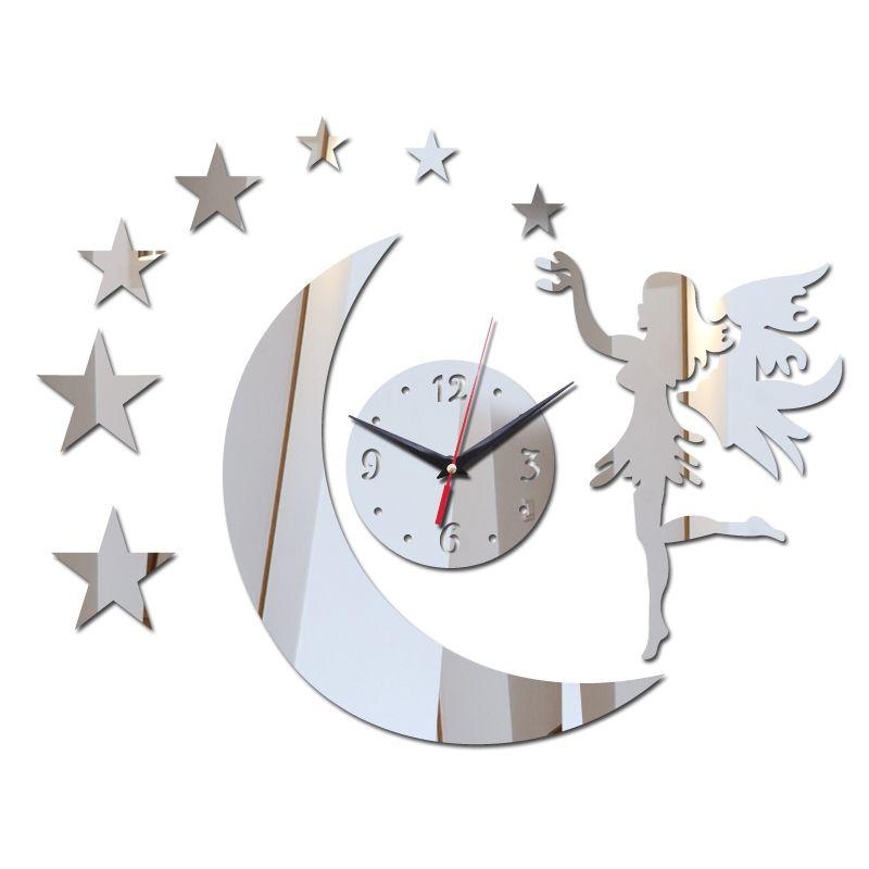 Горячая продажа кварц акриловую пастырской настенные часы краток украшения дома зеркало стены наклейки лицо картину
