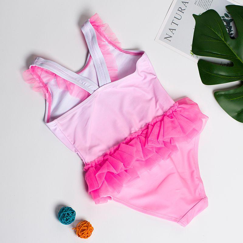 2019 Новые девушки Swimwear 2 ~ 8Year Девушки купальник Flamingo стиль Дети купальники Дети пляж носить купальный костюм-SW332