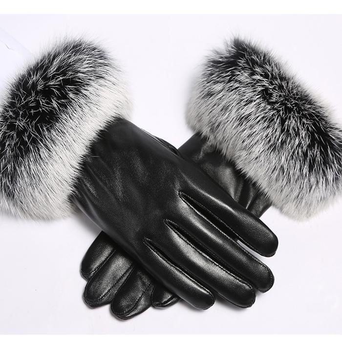 высокое качество женщин 2020 Черный овчины кожаные перчатки осень зима теплая шерсть кролика варежки Hottest доказательство воды Velvet Ветер
