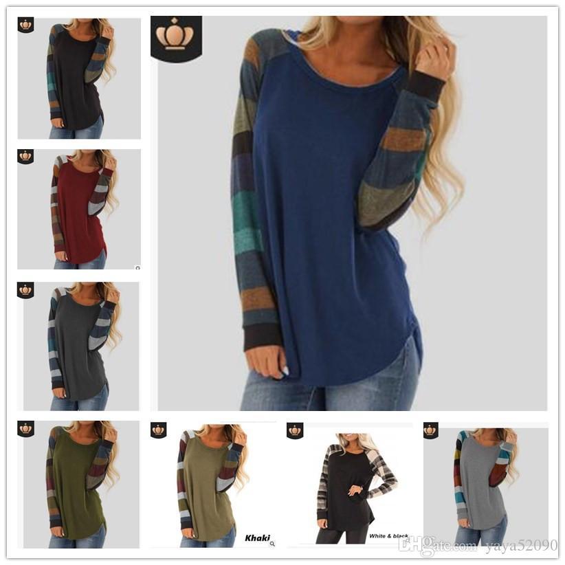 여성용 셔츠 긴 소매 줄무늬 스웨터 루스 티셔츠 드레스 인쇄 된 패치 워크 롱 탑 블라우스 티셔츠 드레스 티셔츠 셔츠들 DHL