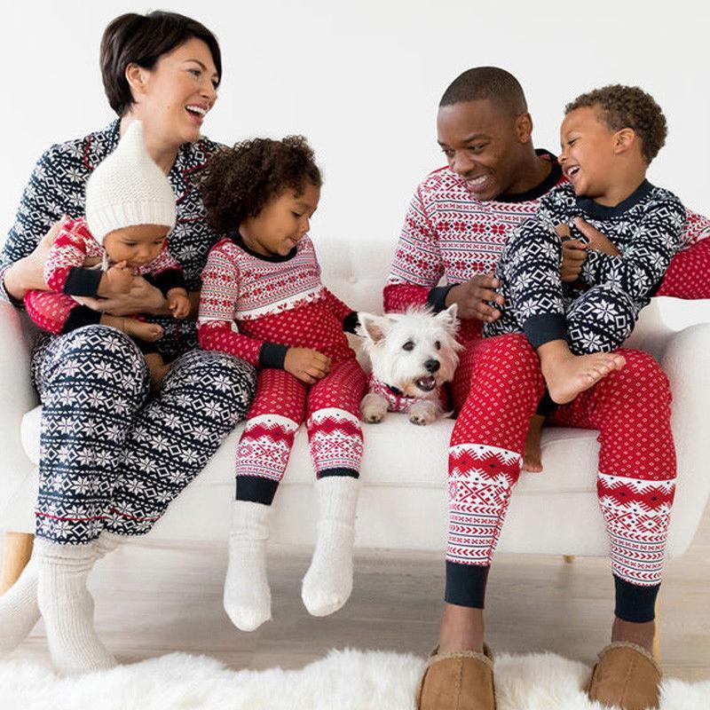 Familia Christmas Matching rayada del copo de impresión pijamas de mamá ropa de dormir adultos / papá / de los niños del sueño Set / bebé