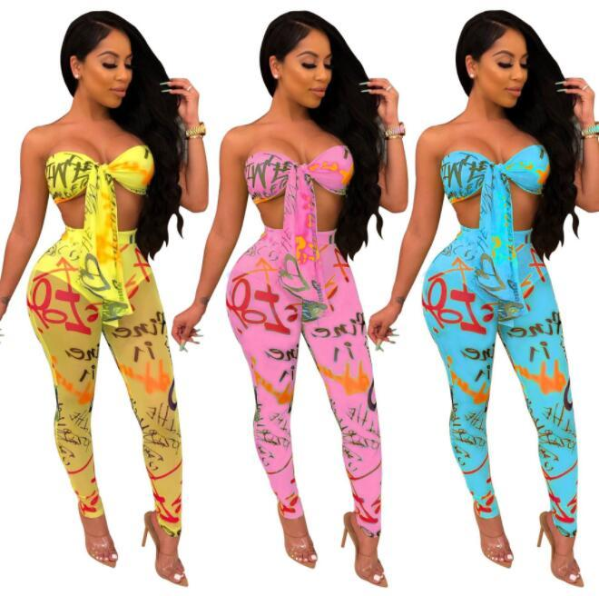 Letter Print Women Tracksuits Sexy Two Piece Set Front Tie Strapless Crop Top + Sheer Mesh Pencil Pants Club Outfits Blue Yellow