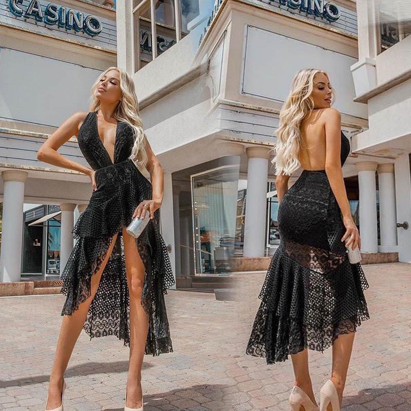 Derin V Yaka Backless Halter Yaz Kadın dizayn edilmiş elbiseler Düzensiz Hollow Out Melmaid Kolsuz Bayan Elbise Parti Seksi