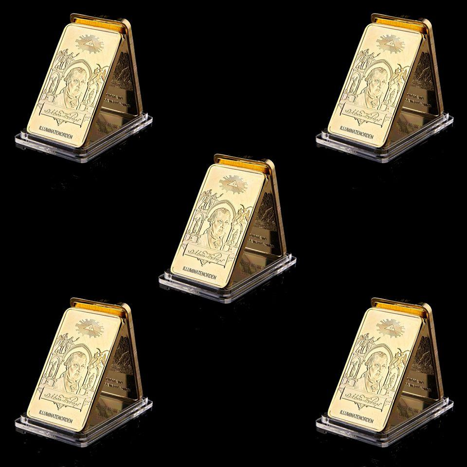 5PCS 1776 World Masonic Coin Freemasons Brothers Are Blessed Light 1oz Gold Plated Metal Replica Collectibles