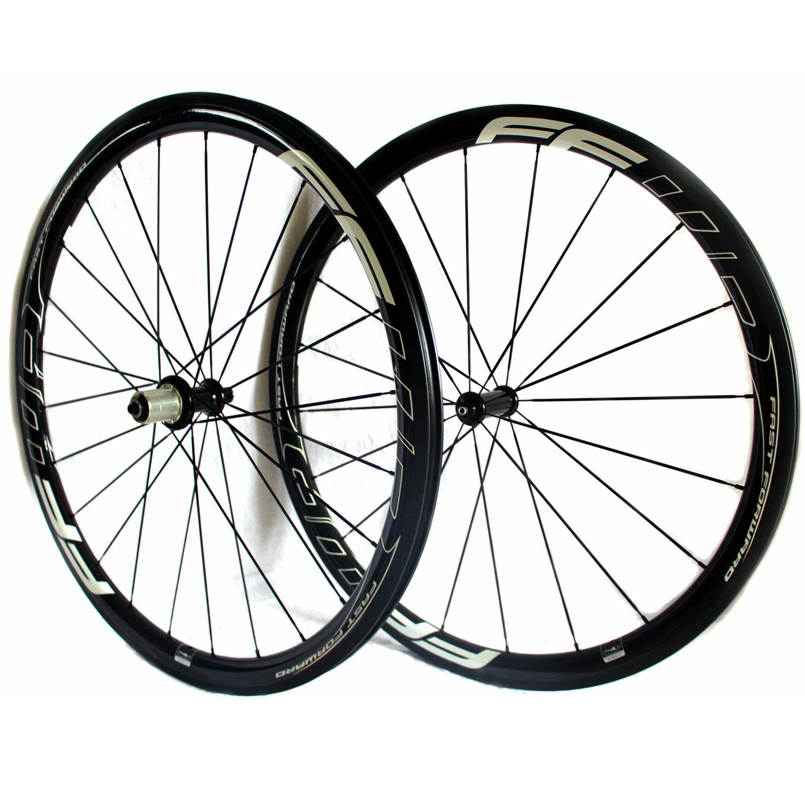 FFWD 빨리 감기 F4R의 38mm 탄소 자전거 바퀴 powerway R36 허브 현무암 표면 광택 3K 제동 바퀴 관 도로 자전거를 CLINCHER