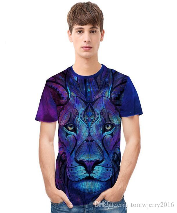 2020 summer foreign trade new men's creative 3D science fiction lion head print T-shirt European and American street fashion Short Sleeve T
