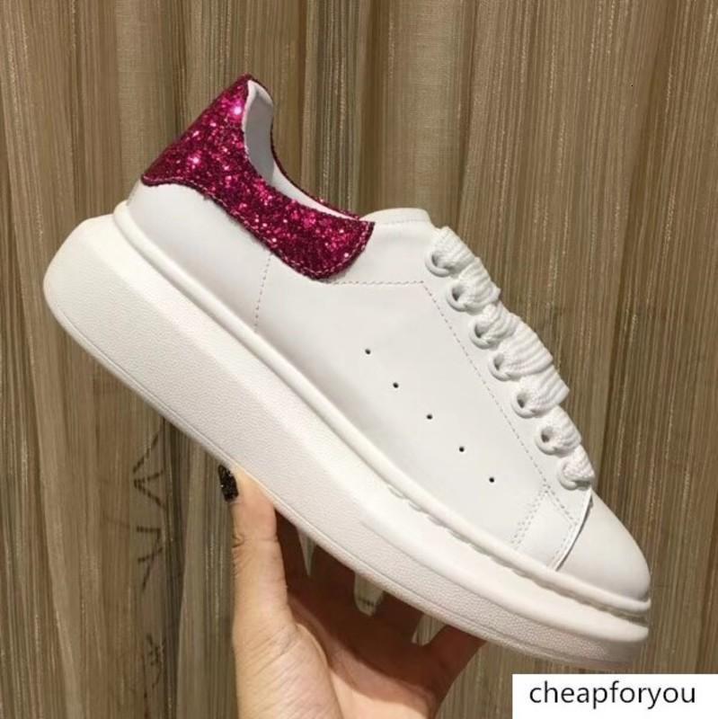 Glitter Patchwork Femmes Chaussures Blanc Chaussures de tennis en cuir véritable de qualité supérieure Luxury Design Lady Lacets Flat plus Taille