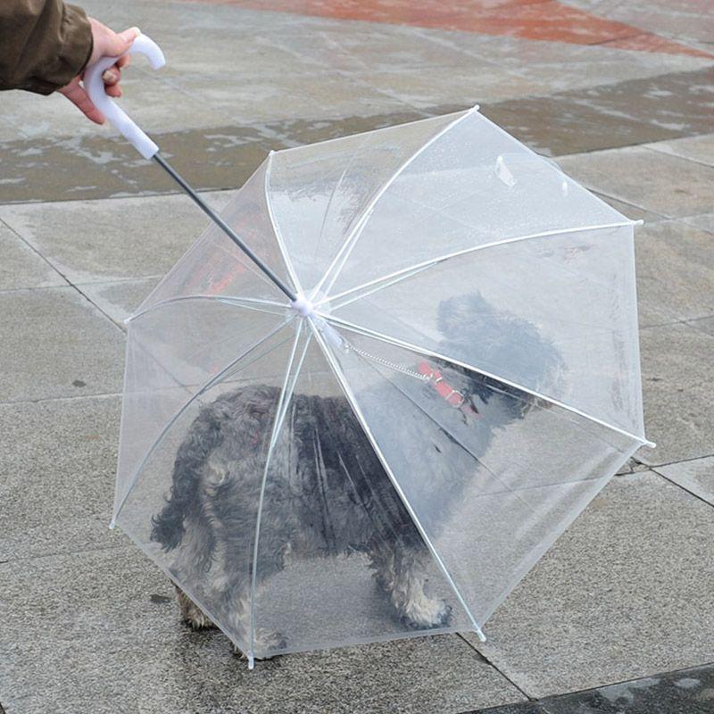 애완 동물 여행 야외 용품 WX9-1314를 유지하는 강아지 리드와 함께 투명한 PE 애완 동물 우산 작은 개 강아지 우산 비옷