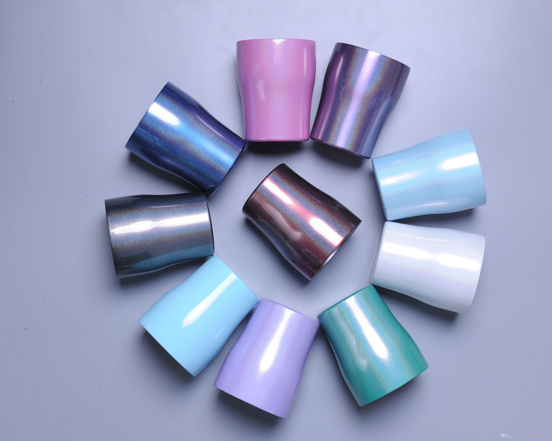 10 oz gobelets en acier inoxydable avec couvercle et paille isolante bouteille d'eau sous vide tasse incurvée verres à vin multicolores A02