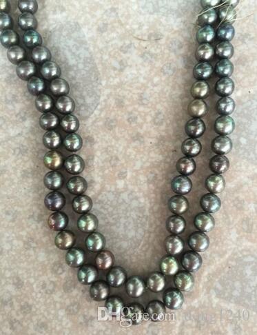 """Frete Grátis impresionante de 9-10mm negro Verde colarinho de perlas 38 """"14 k"""