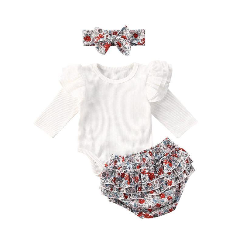 3Pcs Summer Clothes Toddler Infant Baby Girl Striped Romper Jumpsuit Floral Shorts Pants Outfits Set 0-24M