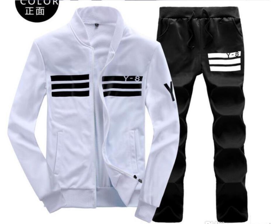 Mężczyzna sportswear bluzy bluzy bluza czarna biała wiosna jesień jogger sportowy garnitur męskie sweatsuits utwór