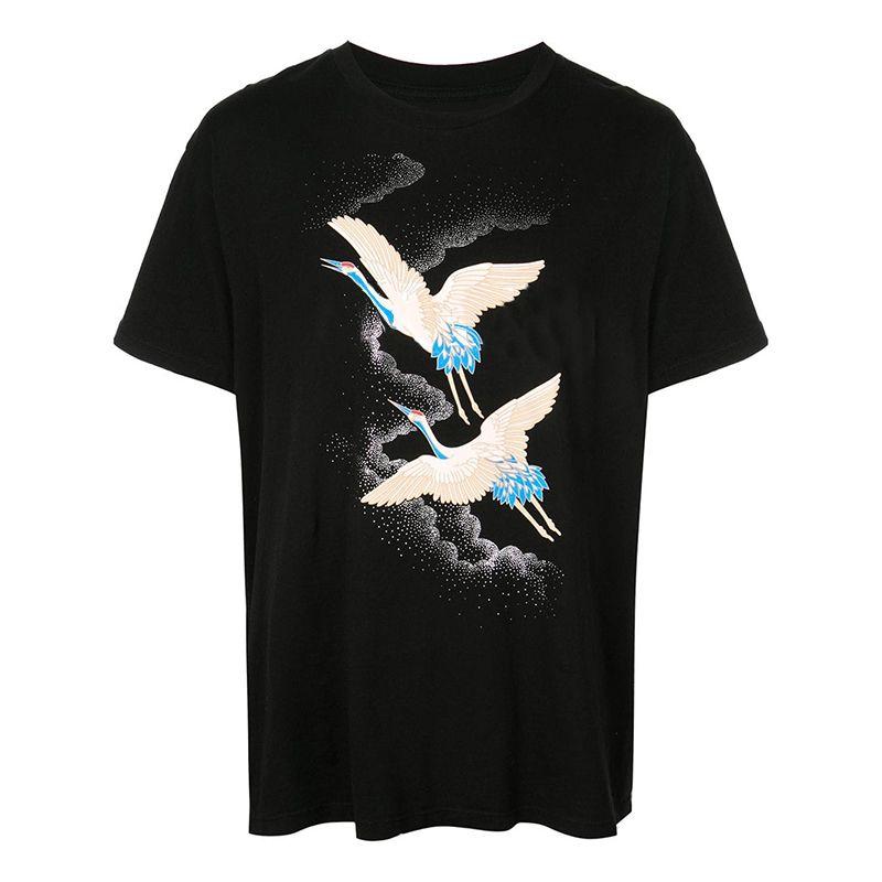 남성 스타일리스트 T 셔츠 크레인 여름 T 셔츠 힙합 패션 남성 여성 스타일리스트 T 셔츠 반소매 티셔츠 사이즈 S-XXL