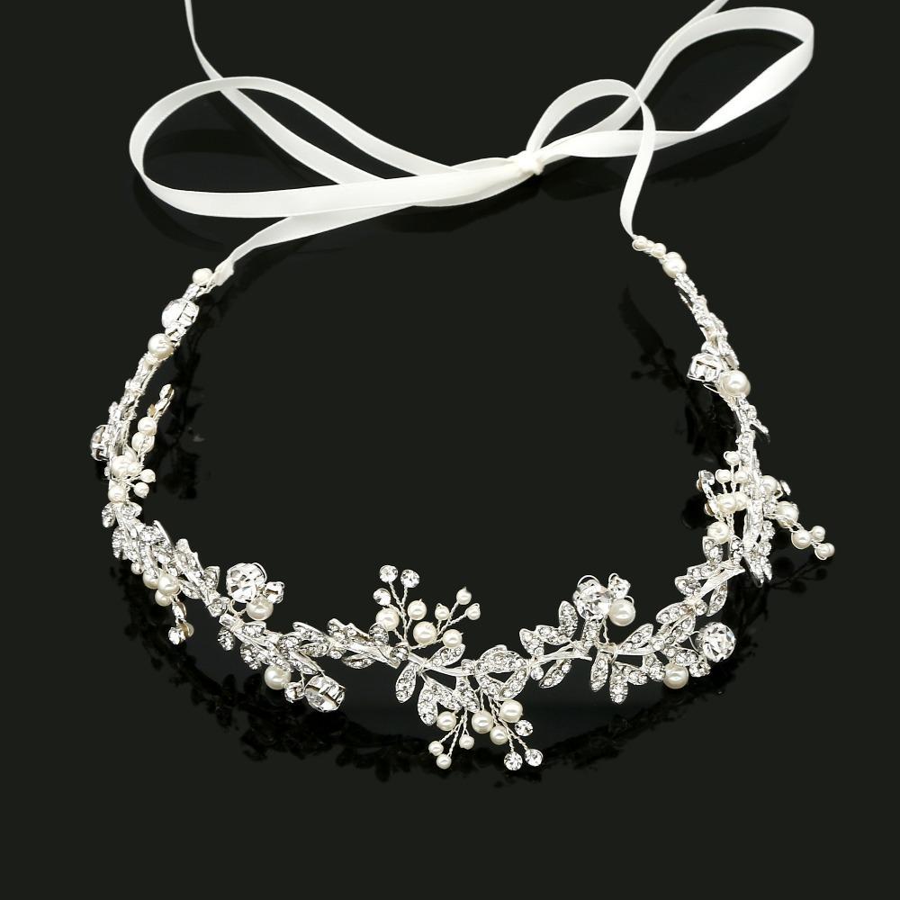 Cristalli SLBRIDAL mano lega del nastro metallico Strass Perle Fiore Foglia Wedding fascia nuziale capelli Vite Accessori per capelli
