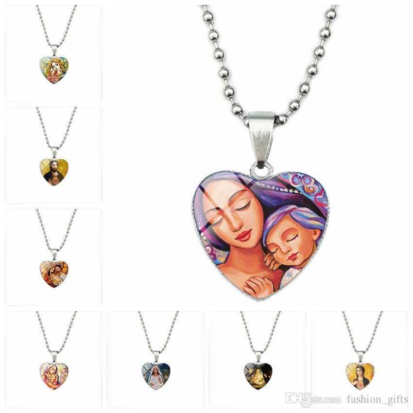 10 Global Mom's Love Vintage Christ Jesus Oil Painting Love Heart Necklace Jewish Time Mother's Day Gift Art Necklace jewelry