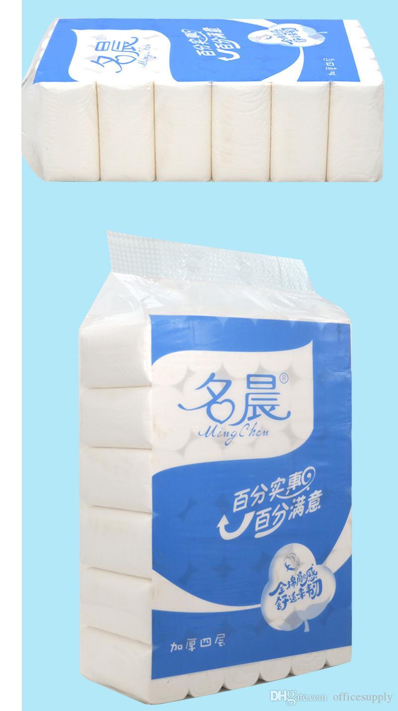 En Stock 4 capas de WC Capas rollo de papel de baño principal papel higiénico rollo de papel higiénico primaria de pulpa de madera papel de seda