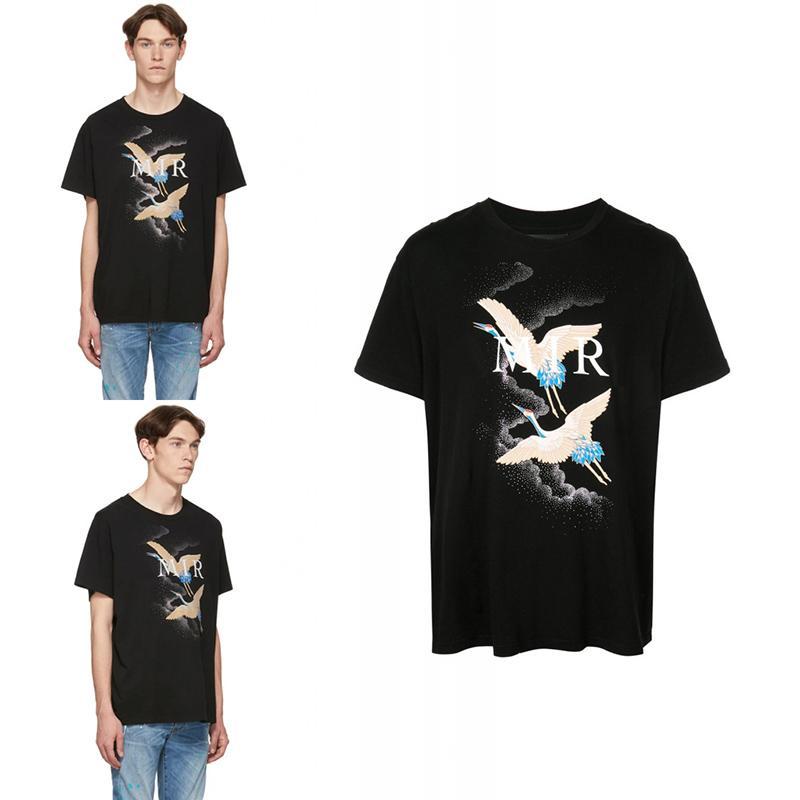 Mens Stylist T Shirt Verão Guindaste Imprimir manga curta Moda Mens T Shirt Hip Hop Black Men Women Tees Tamanho S-2XL