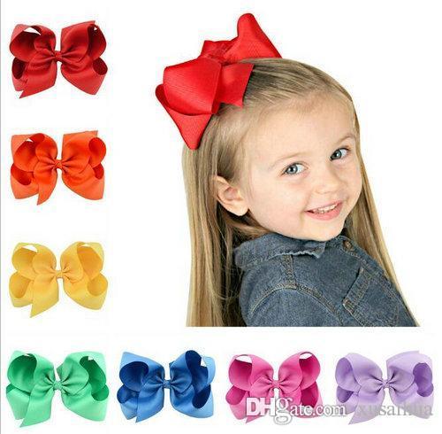 37 colores 6 pulgadas de Moda del bebé de la cinta horquilla arco Clips niñas grande del Bowknot pasador de pelo de los niños Boutique Arcos niños Accesorios para el cabello