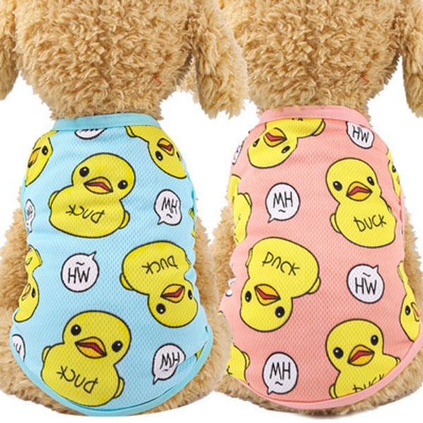 Primavera e verão novo cão pato roupas roupas gato de estimação ruibarbo colete de malha respirável fábrica pet fornecimentos diretos