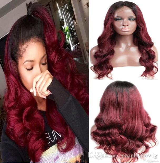 Ombre Lace Front Wigs 100% Chinese Virgin Human Hair Ombre Dark Root Full Lace Wigs 30 inches Long Hair Loose Wave Free Shipping