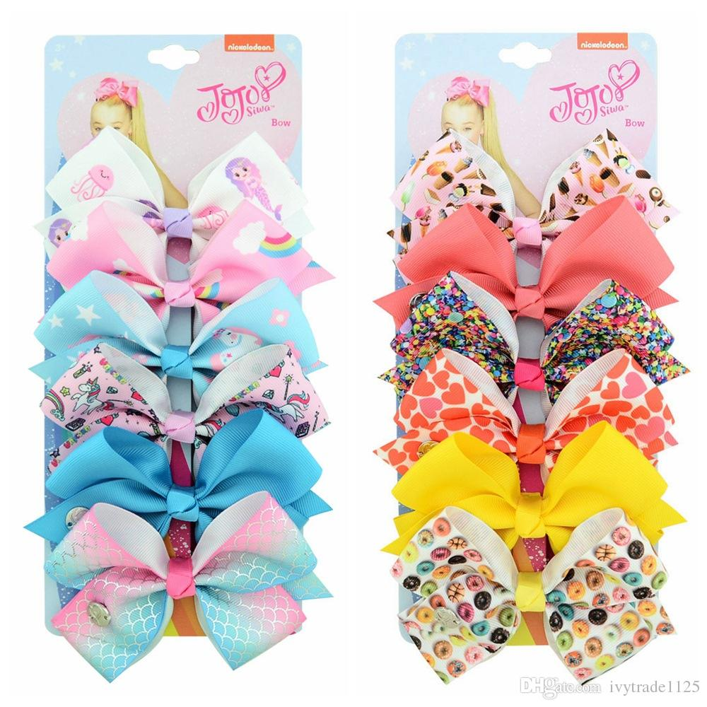 "126 color 5"" hair Bow girl colorful print Barrettes Girl Hair Accessories Rainbow Unicorn kids Unicorn party Christmas hair clipper"