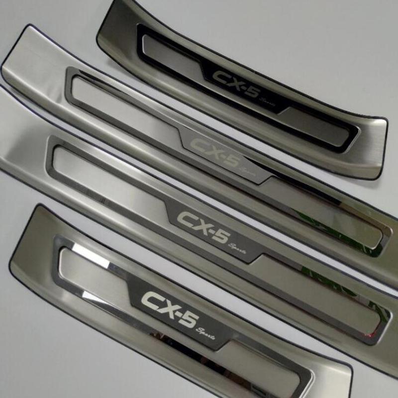 Coche que labra los accesorios para Mazda Cx Cx 5 -5 placas CX5 travesaño de la puerta del ajuste de la cubierta Scuff Guardia Protección Protector Etiqueta 2017 2018