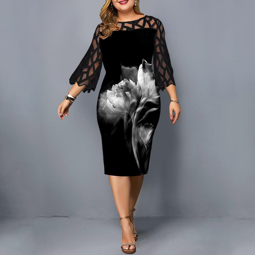 L-6XL donne Plus Size abito elegante nero delle signore puro pizzo abito manica 2020 Casual Chic stampati merletto del partito dei vestiti da sera D25 CX200525