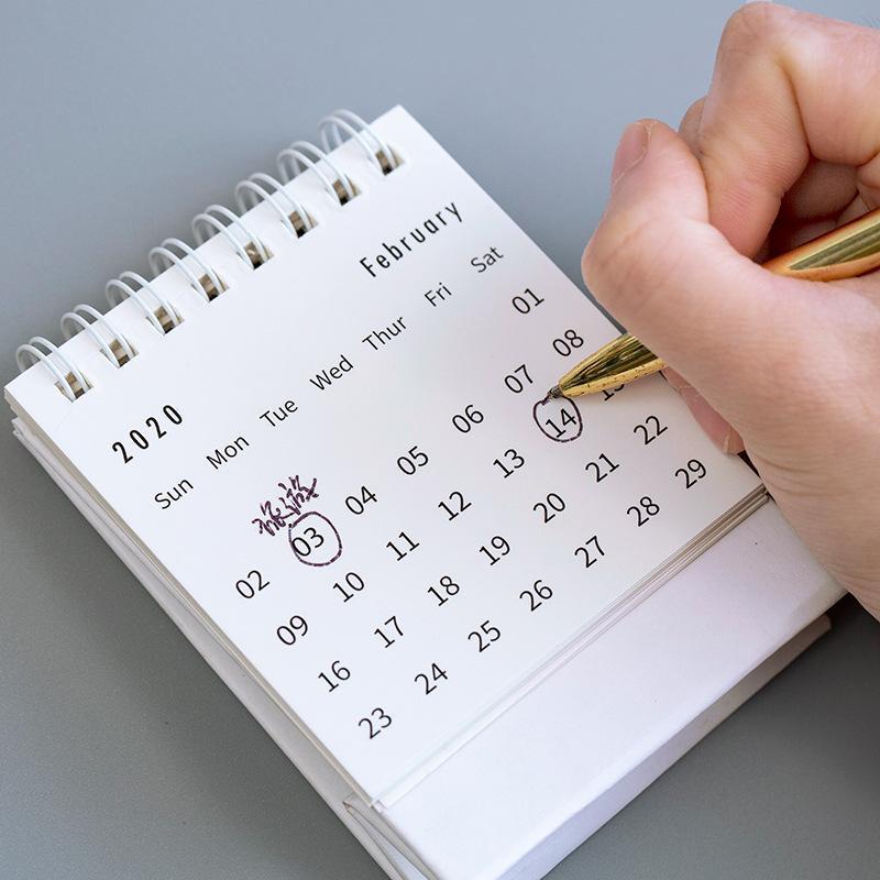 2020 Narin Basit Masa Takvimi Canlandırıcı Mini Masaüstü Not Bobin Takvim Kitabı Okul Ofis Malzemeleri