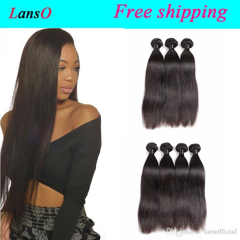 Remy Indien Malais Cheveux Tissages droite beaucoup péruvienne cheveux 3 4 Pcs 100 g par paquet brésilien Extensions de cheveux humains droite