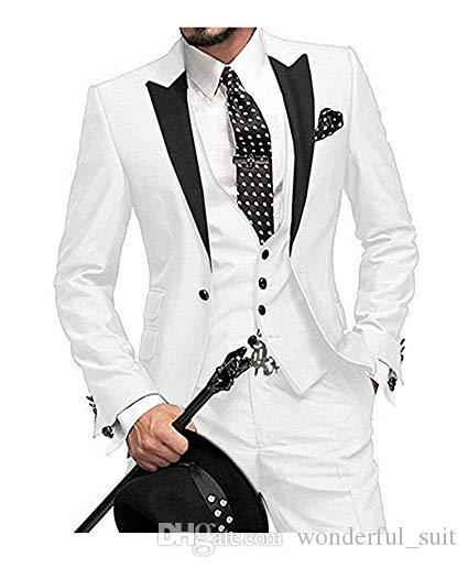 (Jacket + colete + calça) 2019 branco personalizado Slim Fit um botão homens ternos para casamento Notch lapela Men Suits padrinhos melhor homem do smoking de 3 peças