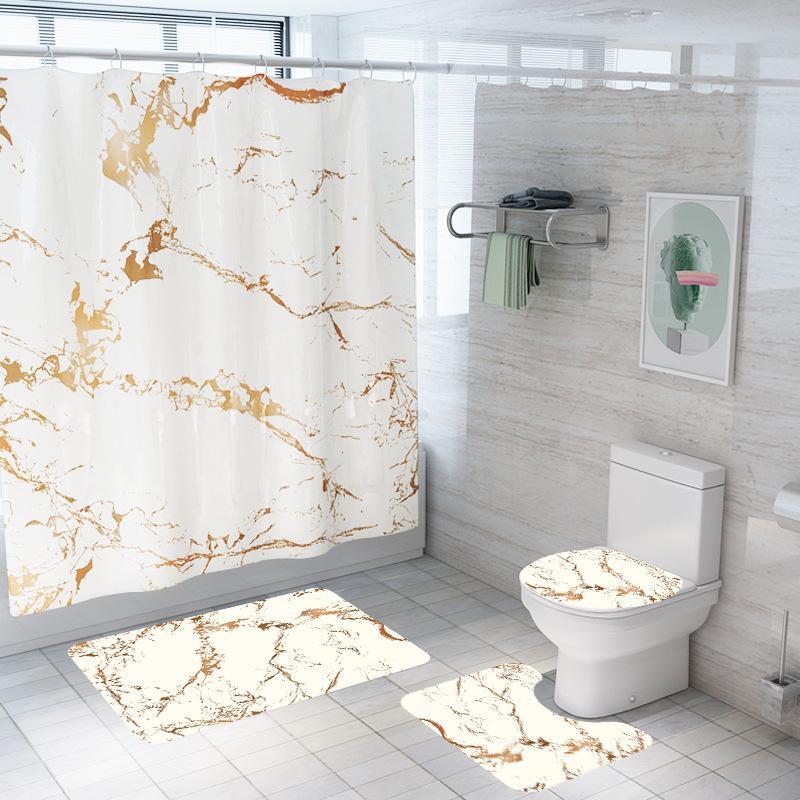 الرخامي مطبوعة حمام دش الستار ماء حمام الستار مجموعة غطاء المرحاض حصيرة عدم الانزلاق حمام البساط مجموعة حمام طلعت حصيرة