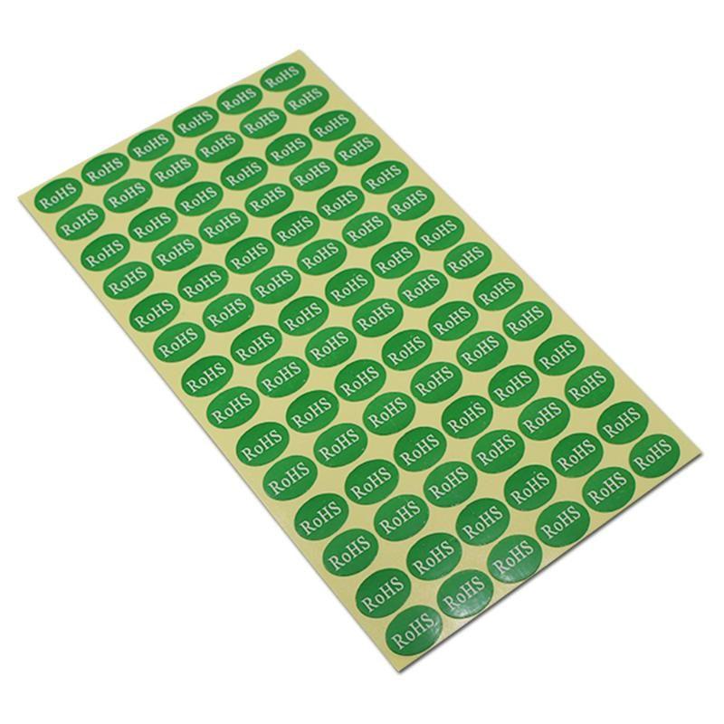 Elektronik Oval Çevre Koruma Etiket Çıkartma Kağıdı Formu Perakende için Elips Kendinden yapışkanlı ROHS Baskılı Ambalaj Etiketleri