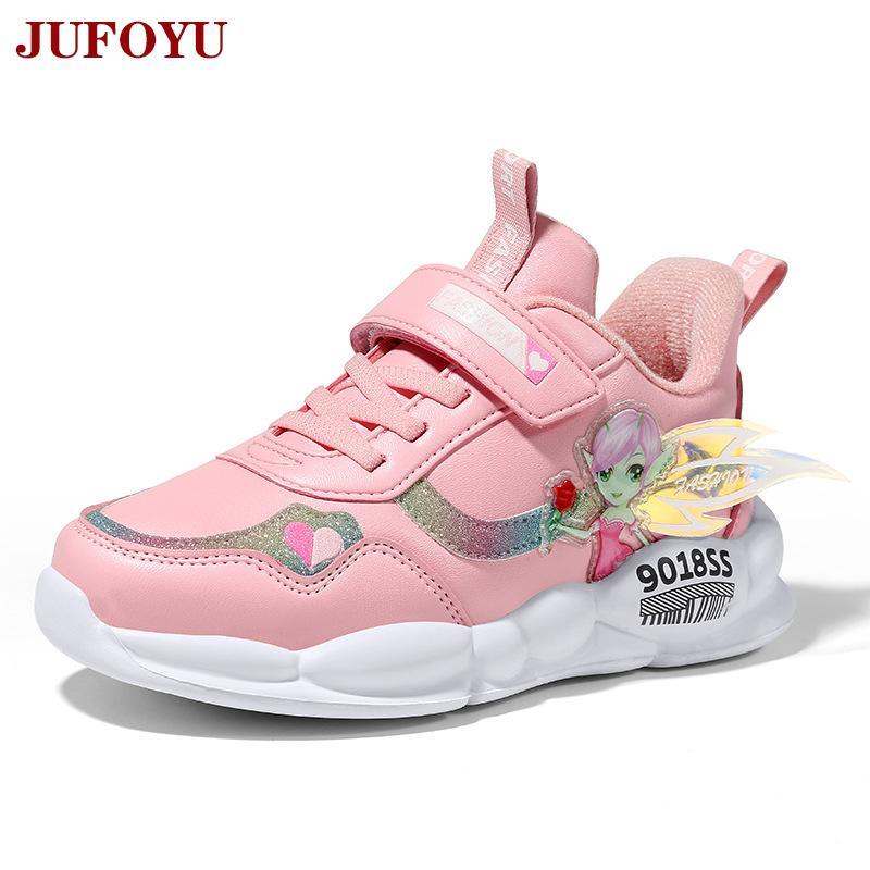 Кроссовки для девочек мода Детская обувь бархат осень мальчики повседневная кожа фиолетовый розовый осень детский студенческий бег 2020 новый