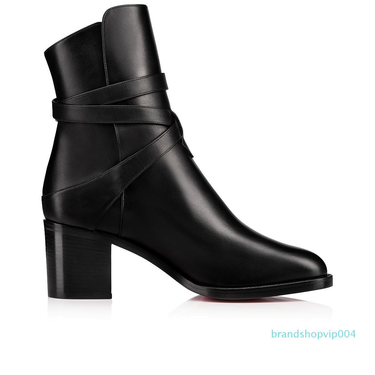 Ladys Stiefel aus Kalbsleder-echtes Leder-rote untere Aufladungen für Frauen Karistrap bootie hohe Stiefel mit Blockabsatz Stiefeletten mit Riemen High Heels