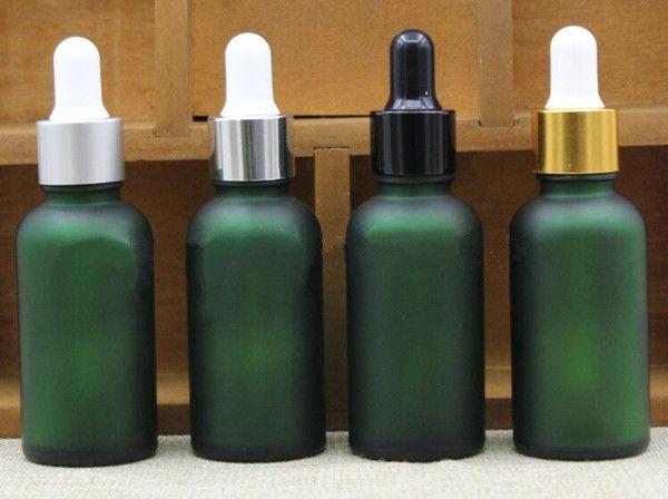30 مل بلوري زجاجة بالقطارة الزجاج الأخضر 1 أوقية ماتي الزجاج الضروري النفط زجاجة السائل مع غطاء الذهب والفضة أسود أبيض