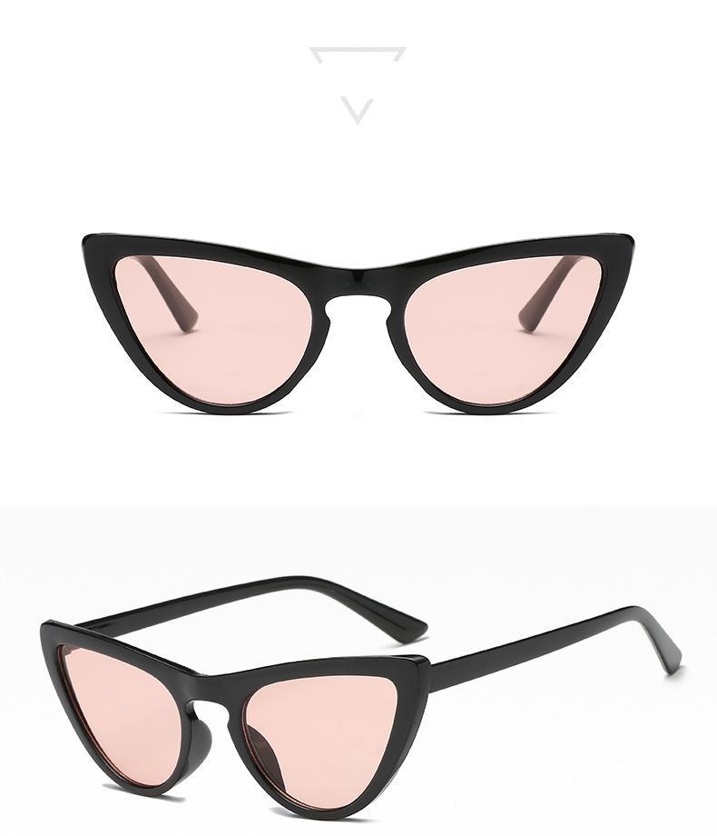 여성을위한 새로운 도착 고양이 눈 그늘 패션 선글라스 브랜드 여성 빈티지 레트로 삼각형 섹시한 카테이 안경 여자 선글라스
