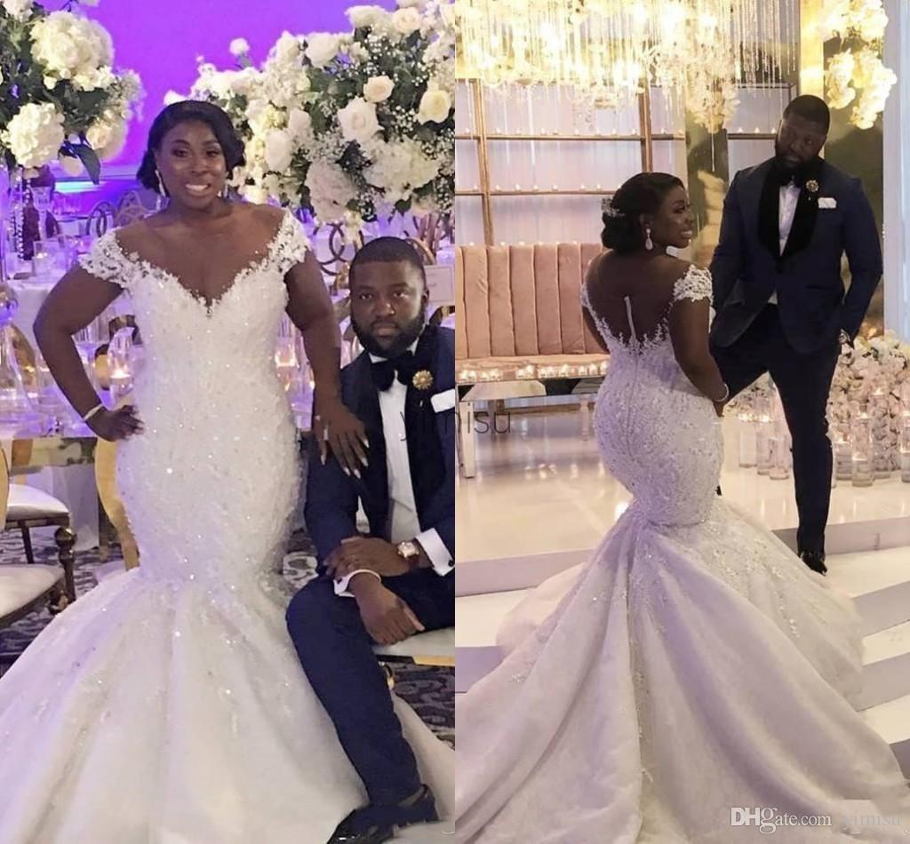 Prickelnde African Mermaid Brautkleider Sheer Ansatz Illusion Mieder Appliques Korn-Kristall Land Brautkleider vestidos de novia Plus Size